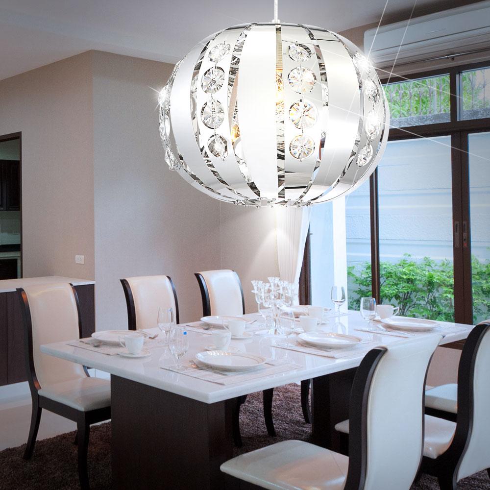 elegante led kugel h ngelampe aus chrom mit kristallen. Black Bedroom Furniture Sets. Home Design Ideas