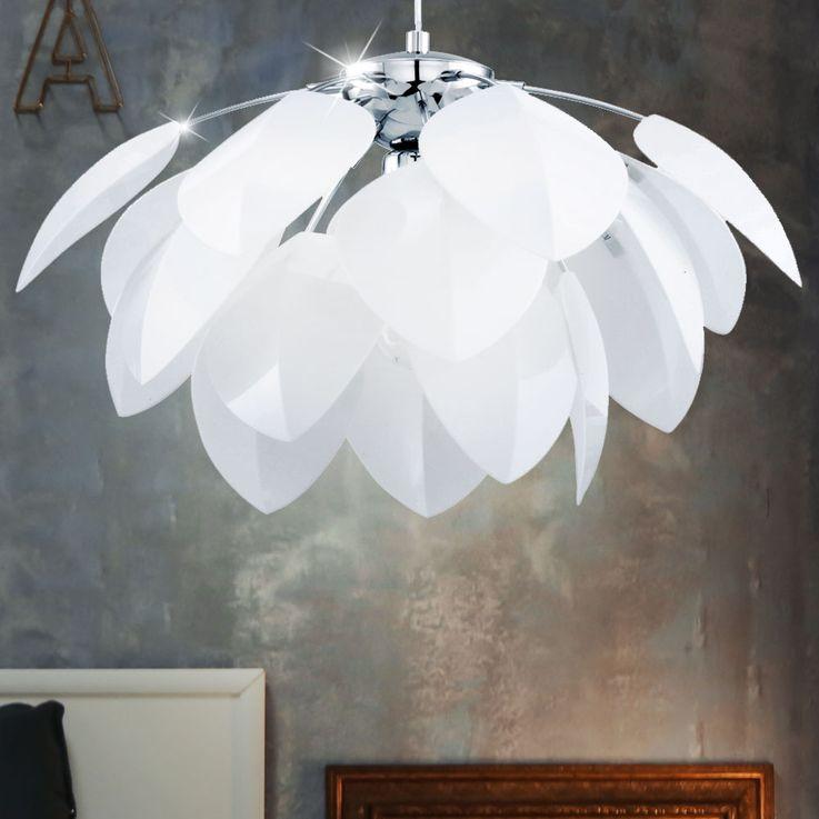 Lustre suspension lampe éclairage plafonnier fleur luminaire floral blanc salle – Bild 4