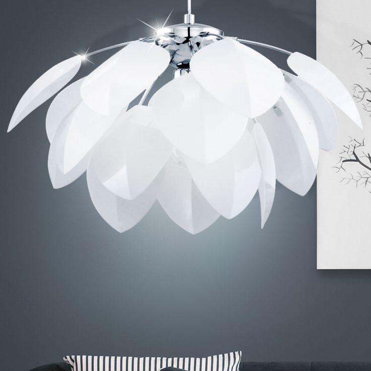 Lustre suspension lampe éclairage plafonnier fleur luminaire floral blanc salle – Bild 3
