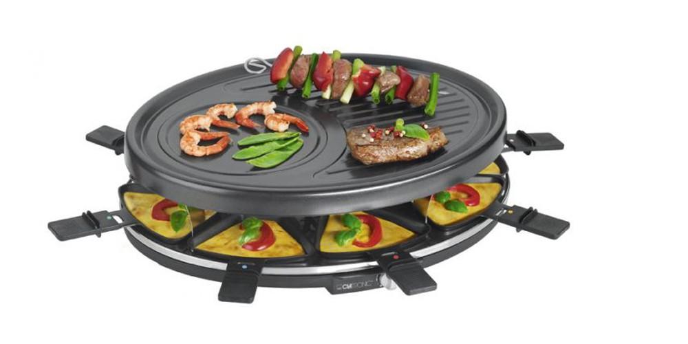 Raclette Grill Pfännchen Grillplatte für 8 Personen Cool-Touch Clatronic RG 3517