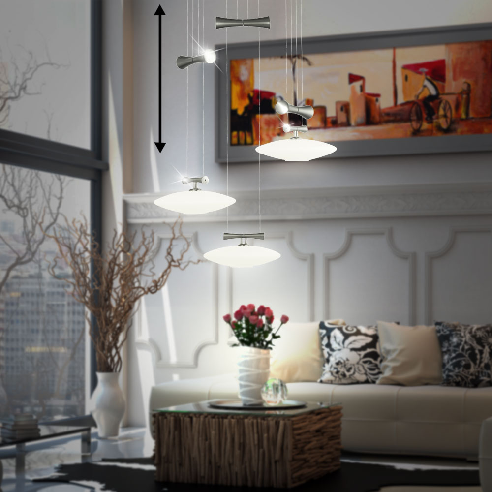 Design Pendulum Hanging Lamp Dining Room Nickel Glass