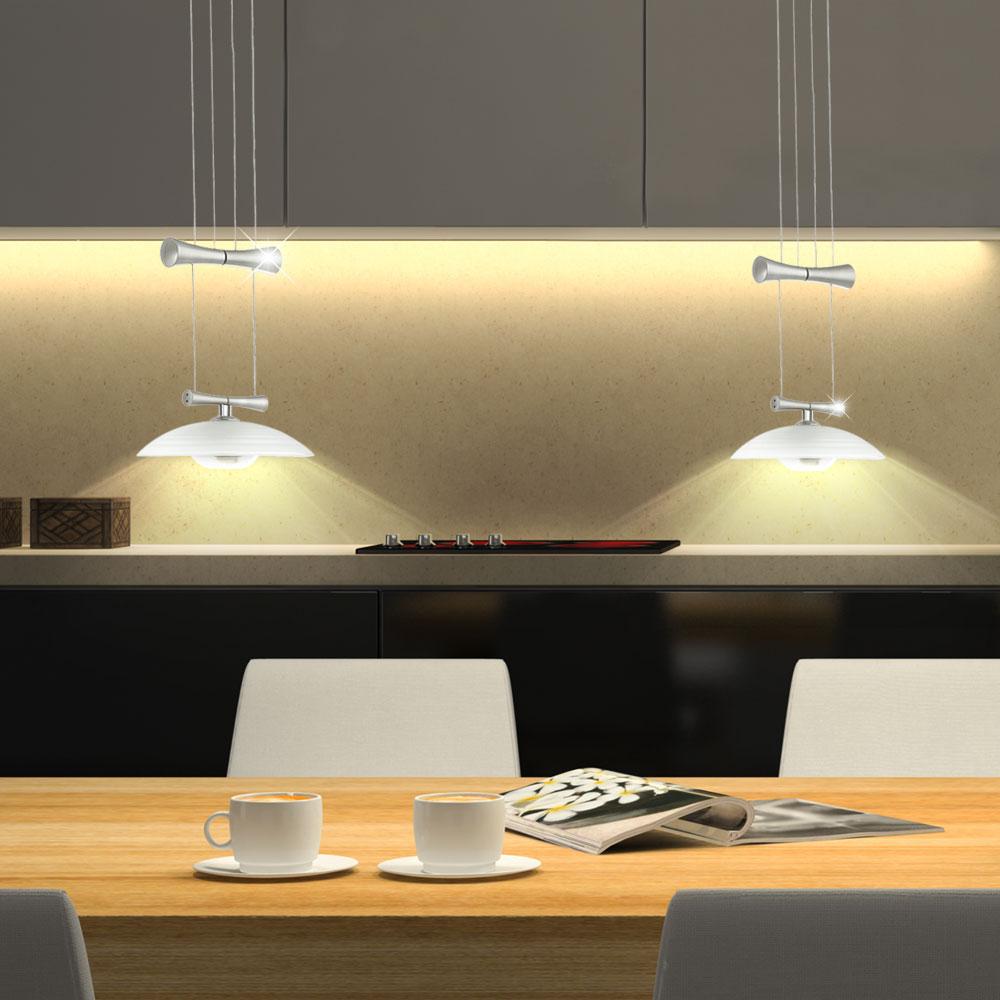 Lustre lampe clairage suspension 2 spots salle manger luminaire verre satin ebay Suspension luminaire salle a manger