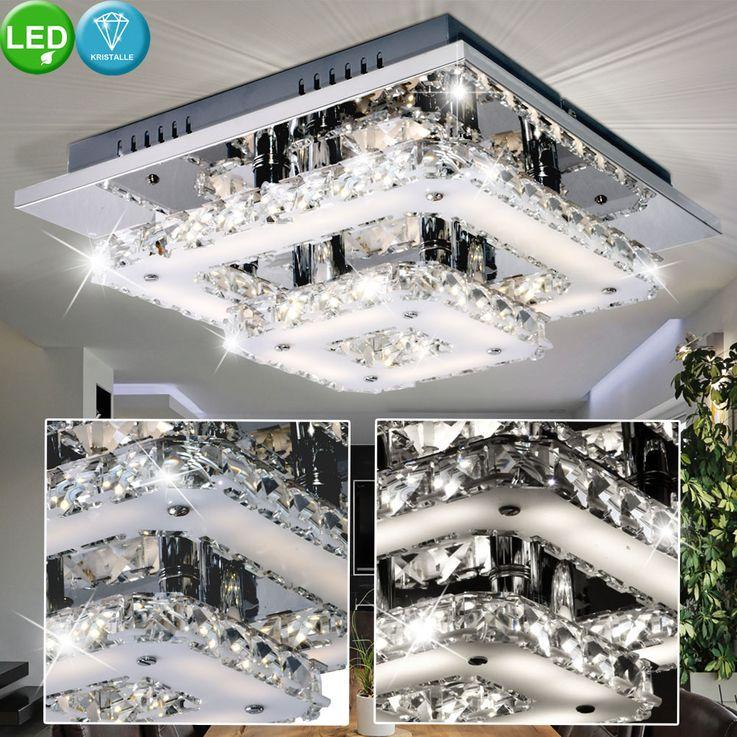 Éclairage plafonnier DEL 18watts lampe salle de séjour chrome verre cristals Esto 9740019 Feeling – Bild 2