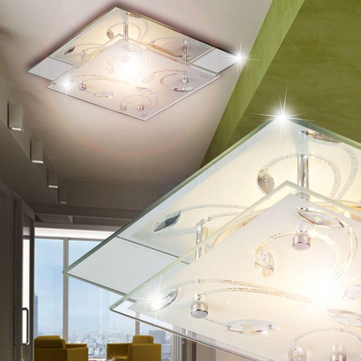 Elegante Deckenlampe aus Chrom mit Spiegelglas – Bild 4