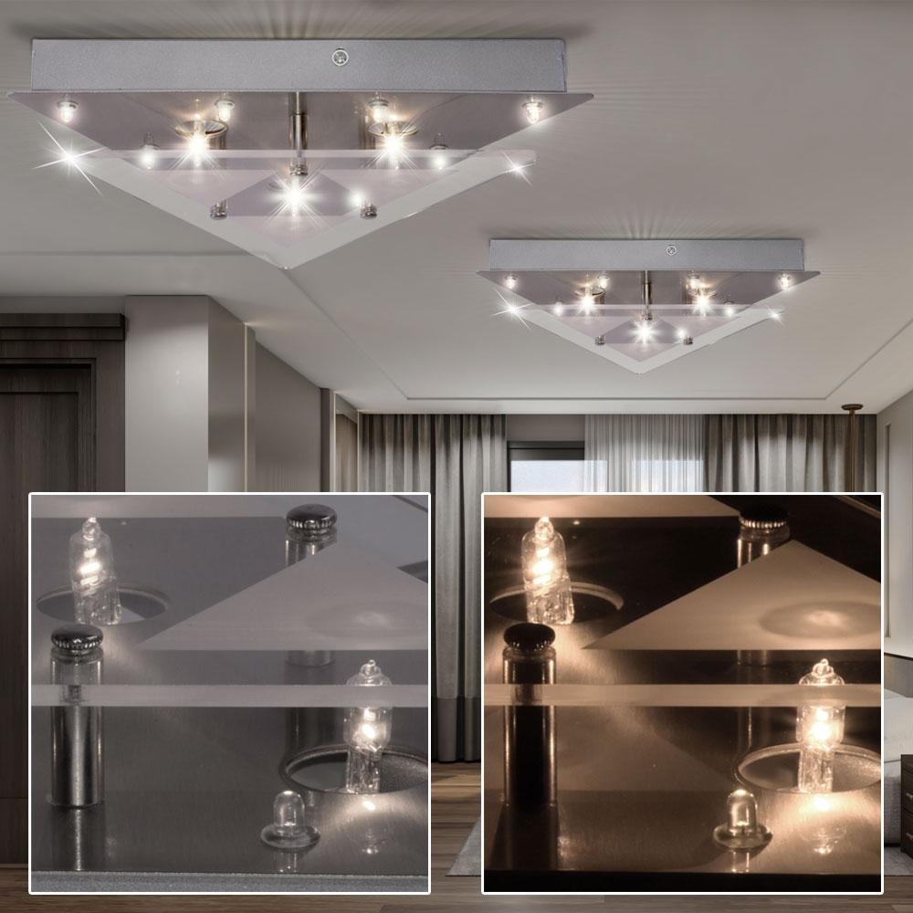 decken chrom lampe leuchte dreieck beleuchtung glas wohn zimmer b ro deko leds 4004353114663 ebay. Black Bedroom Furniture Sets. Home Design Ideas