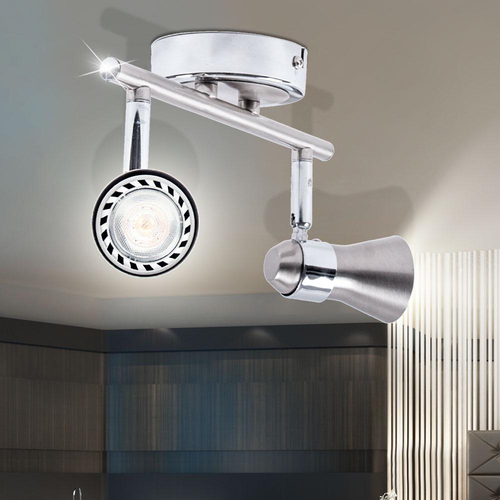 led edelstahl deckenleuchte mit verstellbaren lampenschirmen lampen m bel innenleuchten. Black Bedroom Furniture Sets. Home Design Ideas