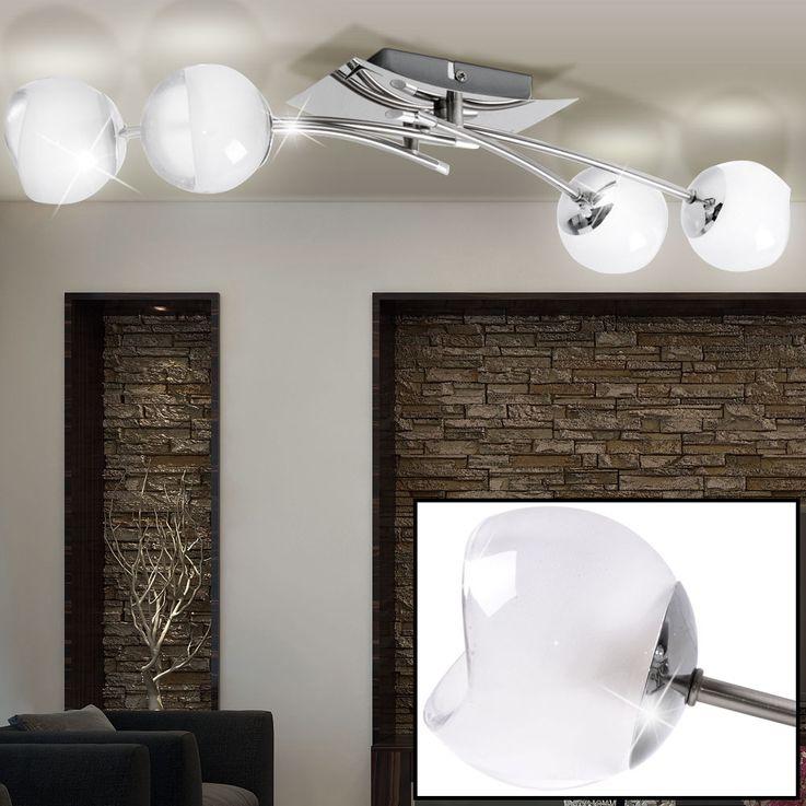 Glas Spot Decken Lampe Wohn Ess Zimmer Leuchte chrom Flur Strahler schwenkbar Brilliant G07635/15 – Bild 2