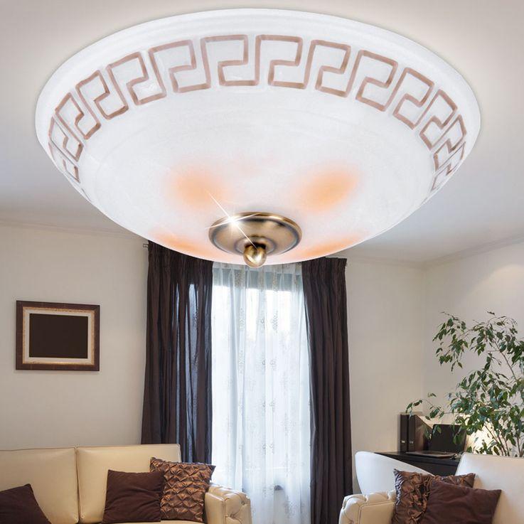 Plafonnier luminaire plafond métal verre espace intérieur éclairage antique cuivre couloir chambre – Bild 2