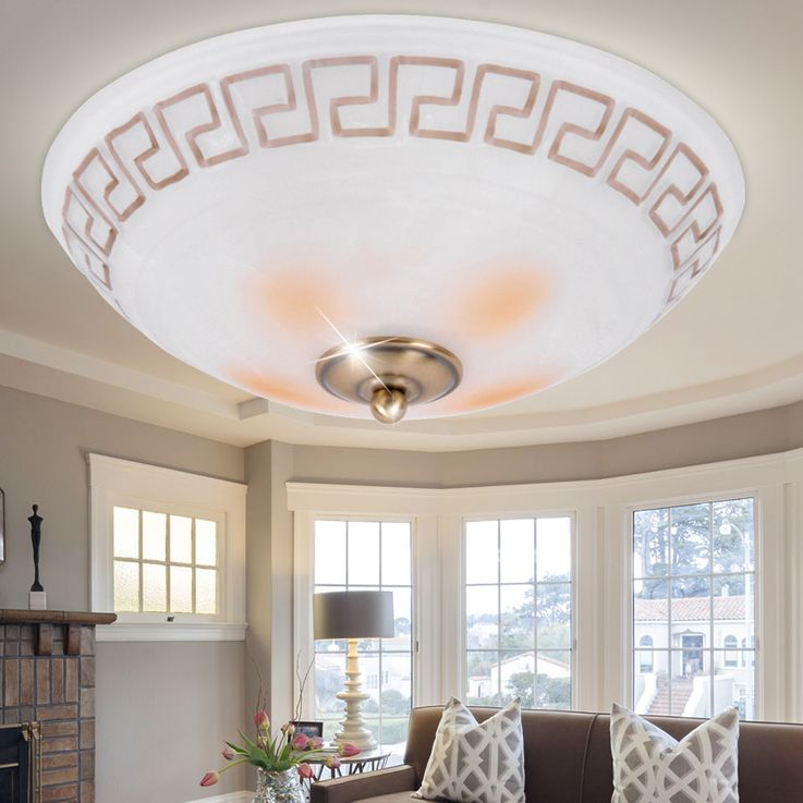 Antique ceiling light round glass white light lamp metal copper pattern Brilliant 90207/31 – Bild 4