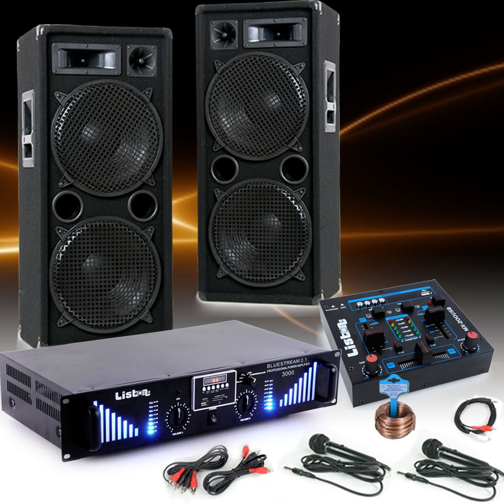 2400w pa karaoke party musik anlage boxen bluetooth endstufe usb mp3 mixer mikro ebay. Black Bedroom Furniture Sets. Home Design Ideas