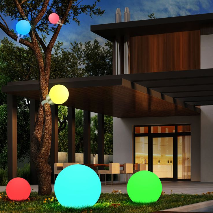 RGB LED Steck Leuchte Solar Lampe Farbwechsler IP44 Garten bunt Globo 33795-15 – Bild 2
