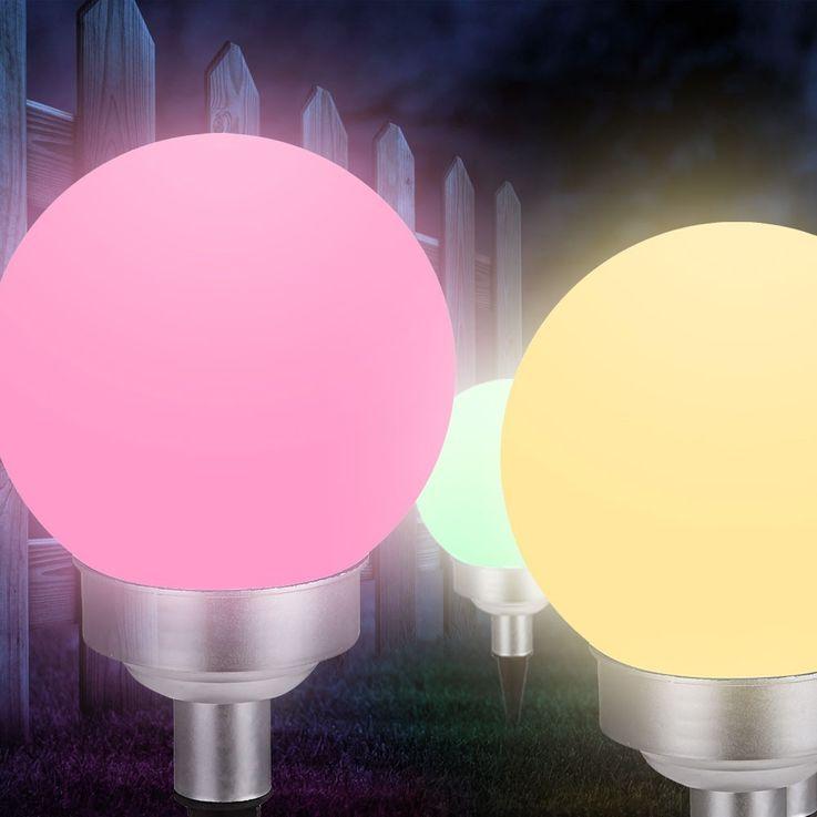 RGB LED plug light solar lamp color changer IP44 garden colorful Globo 33795-15 – Bild 5