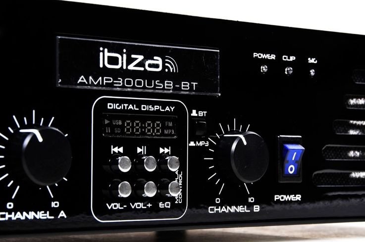 "480 Watt audio amplifier with line input USB MP3 Bluetooth audio sound 2HE-19 ""AMP300USB-BT – Bild 5"