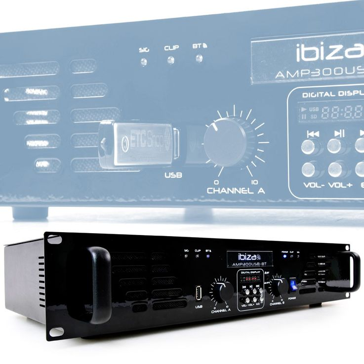 "480 Watt audio amplifier with line input USB MP3 Bluetooth audio sound 2HE-19 ""AMP300USB-BT – Bild 8"