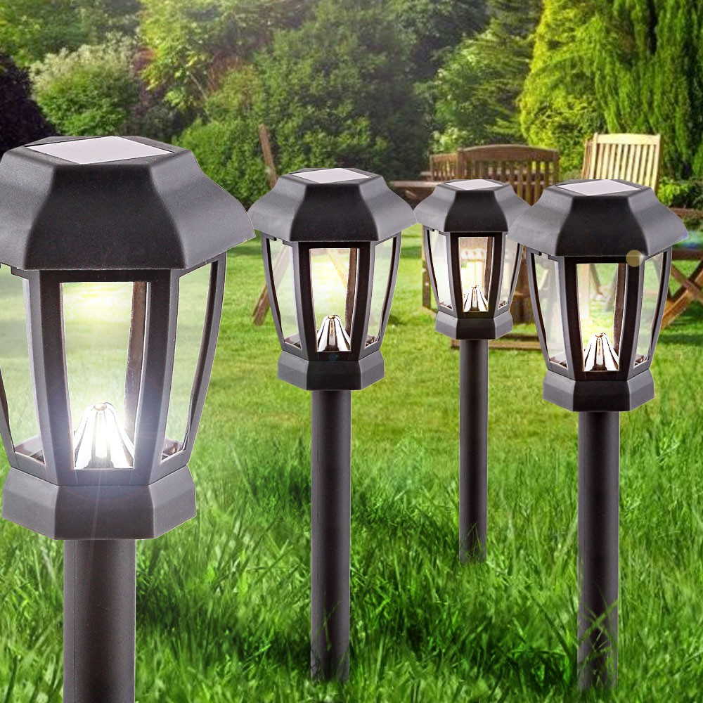 4er set led solar leuchten ip44 garten lampen weg beleuchtung au en stecklampen ebay. Black Bedroom Furniture Sets. Home Design Ideas