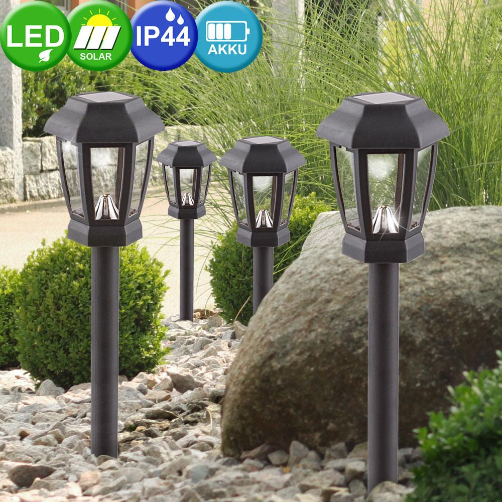 8er Set Steck Lampen Solar LED Garten Beleuchtung Weg Terrassen Außen Leuchte