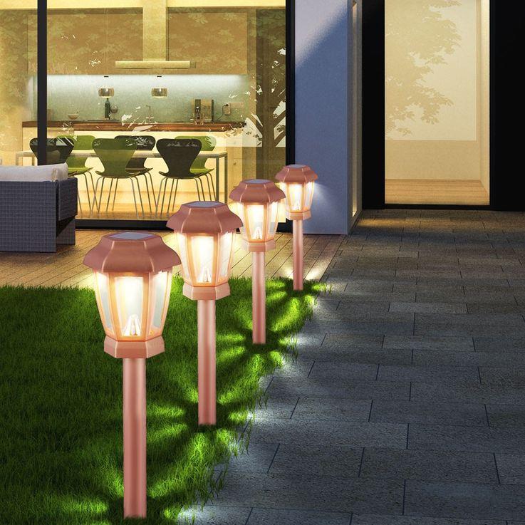 Set of 4 LED Solar Lights Outdoor Lights Lighting Lamp Lamp Copper Color Globo 33862-4 – Bild 4