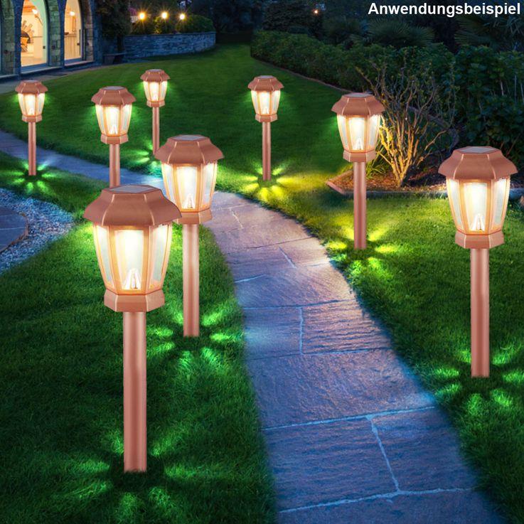 Set of 4 LED Solar Lights Outdoor Lights Lighting Lamp Lamp Copper Color Globo 33862-4 – Bild 5
