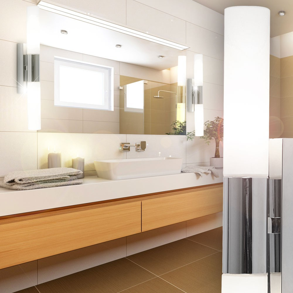 led wand spot leuchte badezimmer leuchte ip44 k chen flur lampe chrom glas b ro ebay. Black Bedroom Furniture Sets. Home Design Ideas