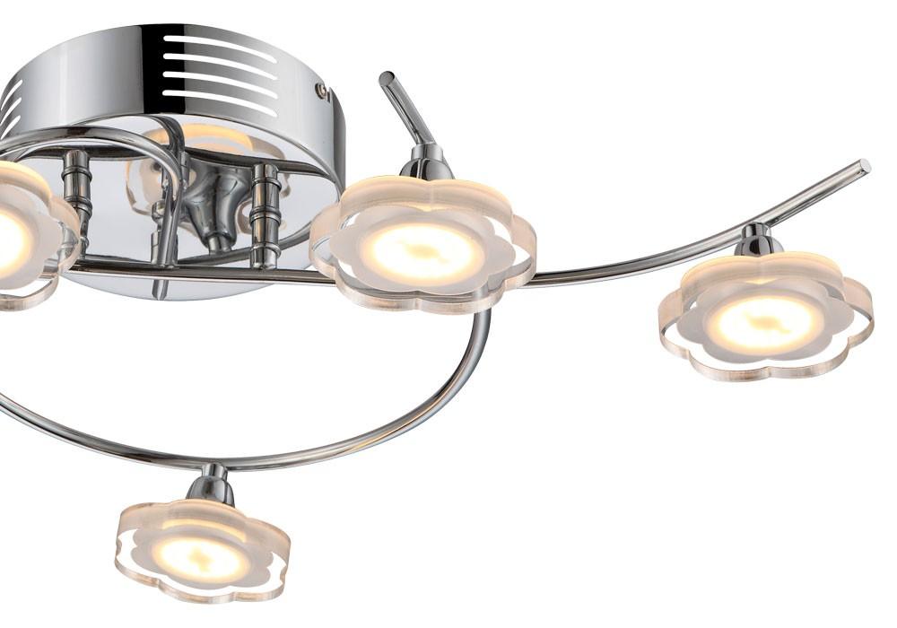 luxus 25w led decken leuchte lampe chrom kristalle bl ten form flora wohn zimmer ebay. Black Bedroom Furniture Sets. Home Design Ideas