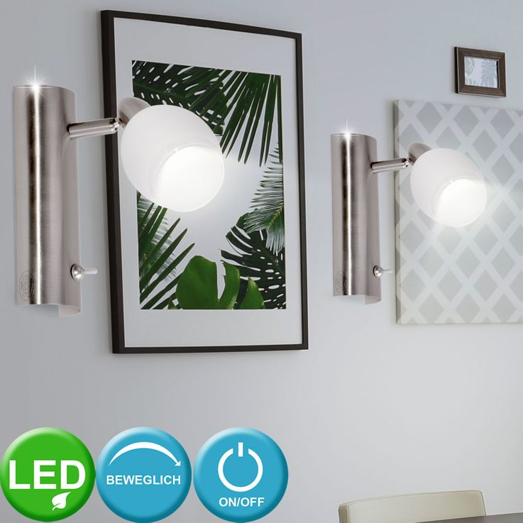 LED Wand Leuchte EEK A+ Glas weiß lackiert 1-flg Nickel matt WOFI 4301.01.64.0000 – Bild 3