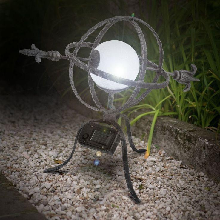 LED Solarleuchte Solarlampe Außenleuchte Licht Stahl schwarz silber Schalter Akku – Bild 2