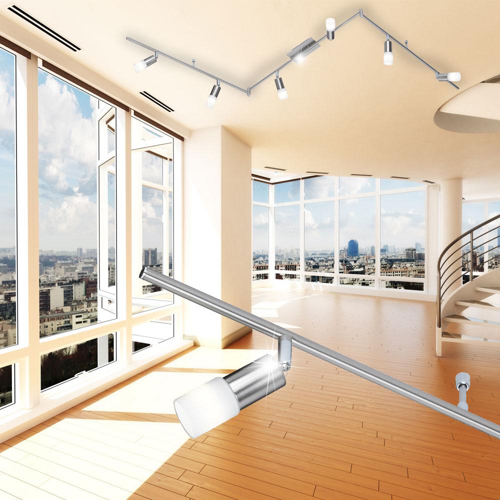 led deckenstrahler in silber matt mit 6 beweglichen spots. Black Bedroom Furniture Sets. Home Design Ideas