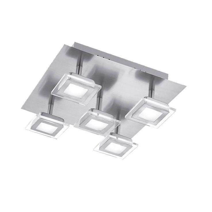 Plafonnier LED 25 watts luminaire plafond lampe DEL nickel mat verre éclairage chambre – Bild 1