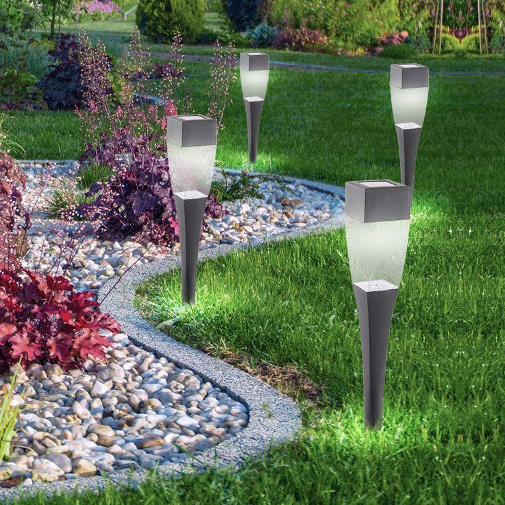 4er Set LED Solarleuchten Steckleuchten Außenlampen Beleuchtung Lampen Globo 33863-4 – Bild 7