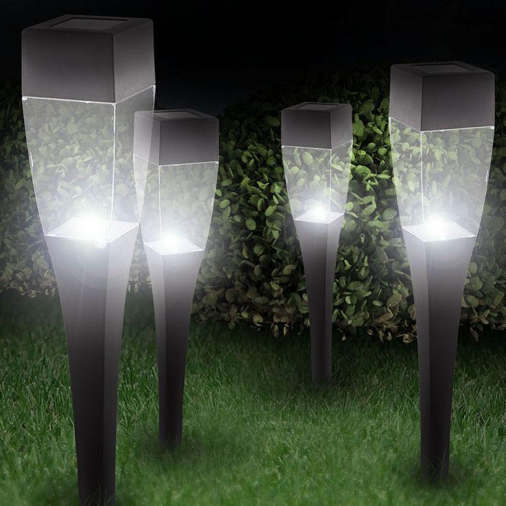 4er Set LED Solarleuchten Steckleuchten Außenlampen Beleuchtung Lampen Globo 33863-4 – Bild 3