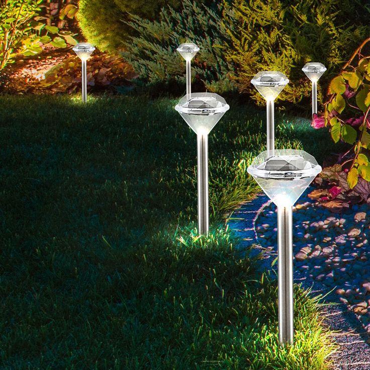 3er Set Solar Leuchte Außen Steck Lampe Diamant Optik IP44 Erdspieß Globo 33956-3 – Bild 4