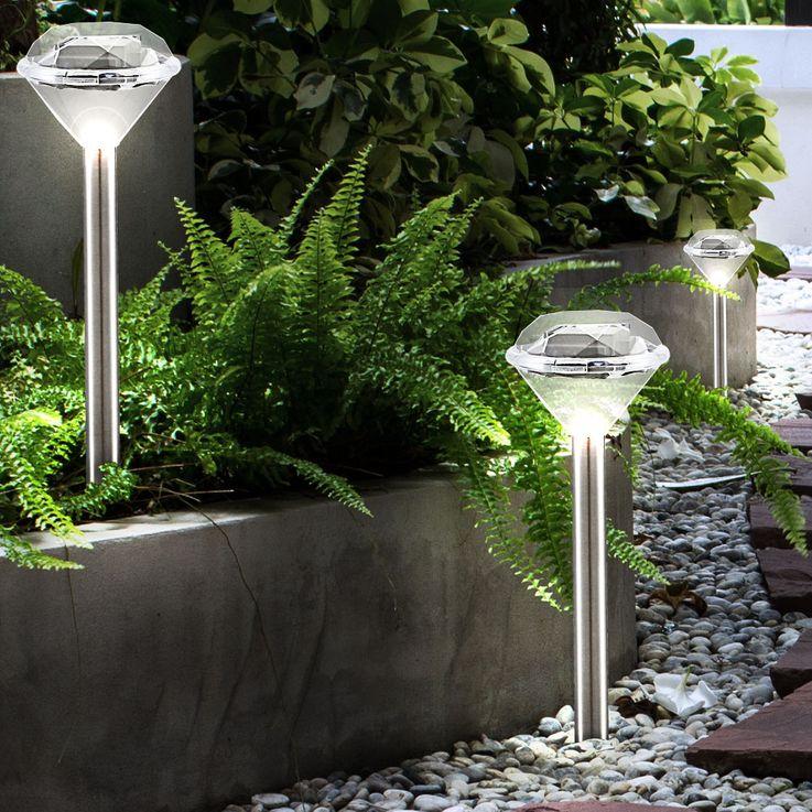 Set of 3 Solar light External plug-in lamp Diamantoptik IP44 Erdspieß Globo 33956-3 – Bild 2