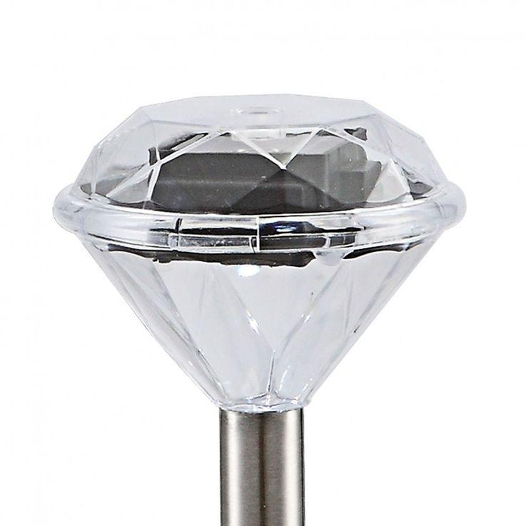 3er Set Solar Leuchte Außen Steck Lampe Diamant Optik IP44 Erdspieß Globo 33956-3 – Bild 10