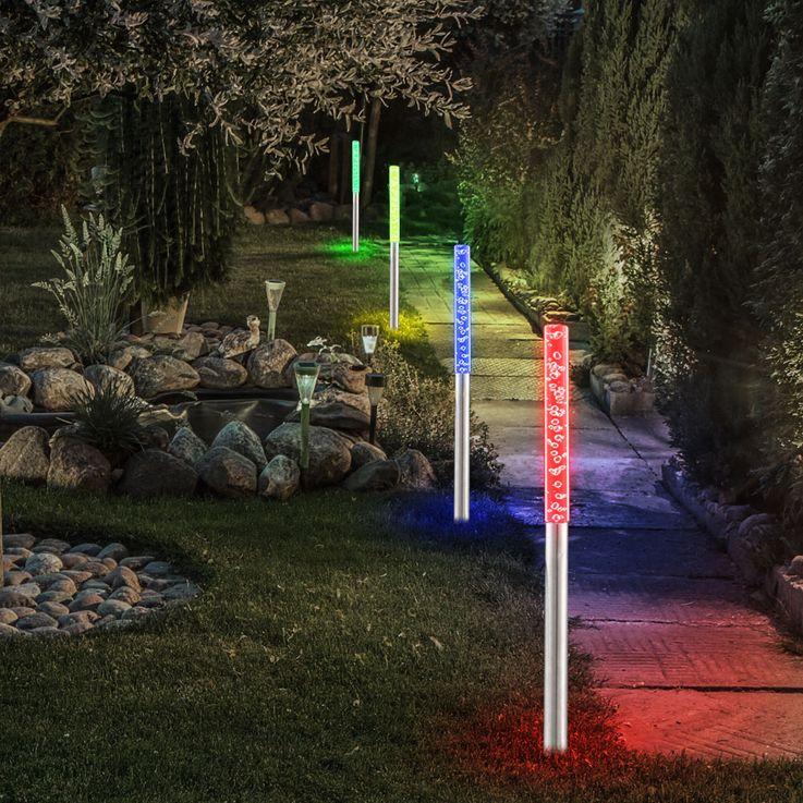 Lot de 4 LED Plug Lumières Changement de Couleur Coloré Design Stand Lampes Lumières Verre Acier Inoxydable IP44 – Bild 6