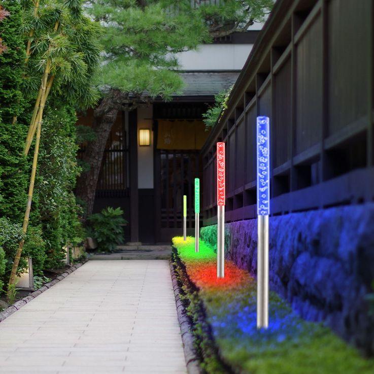 4er Set LED Steck Leuchten Farbwechsel bunt Design Stand Lampen Beleuchtungen Glas Edelstahl IP44 – Bild 3