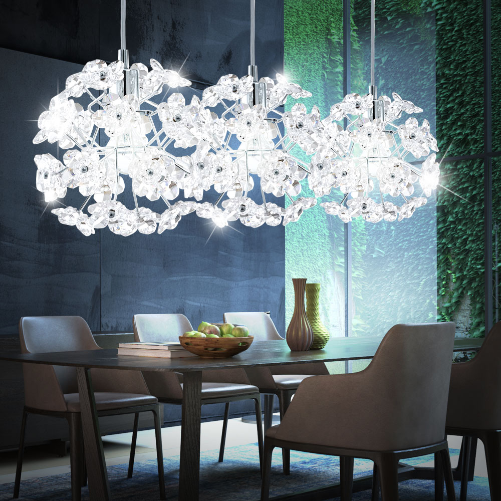 h ngeleuchte aus chrom im floralen design lampen m bel r ume wohnzimmer. Black Bedroom Furniture Sets. Home Design Ideas