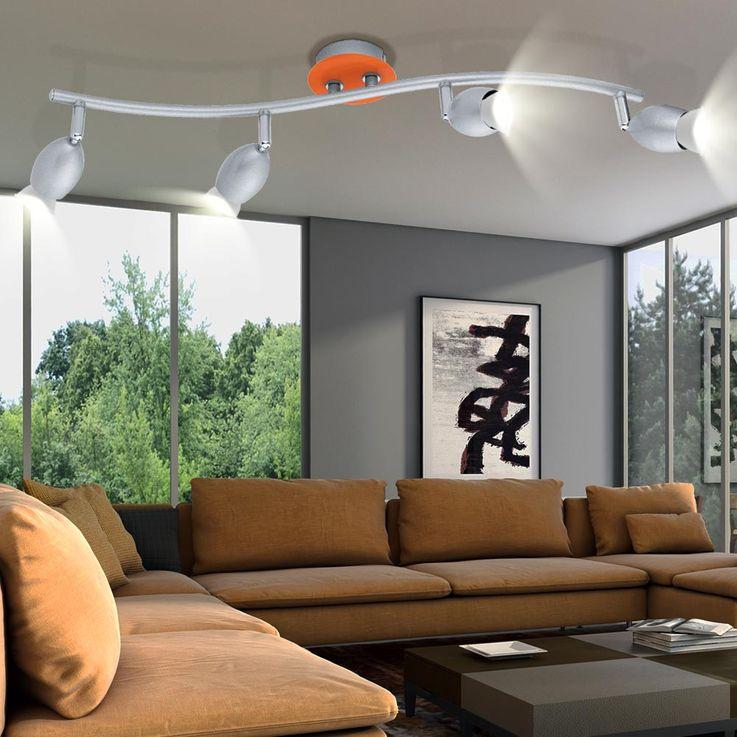 Decken Lampe Spot Leuchte Wand Licht Strahler beweglich Stahl silber orange EGLO 30251 BURONI – Bild 4