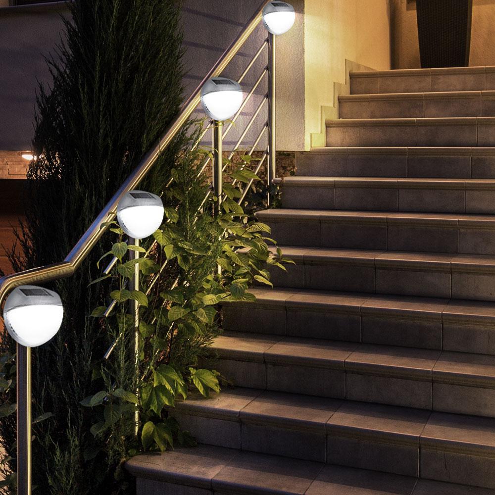 Détails sur Lot de 4 DEL terrasse extérieure Chemin Clôture Lampes solaire  de jardin éclairage Gris IP44- afficher le titre d\'origine