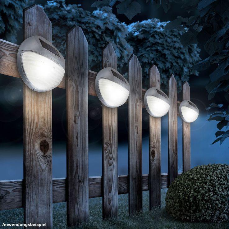 4er Set LED Zaun Solarleuchten aus Kunststoff in Grau – Bild 6