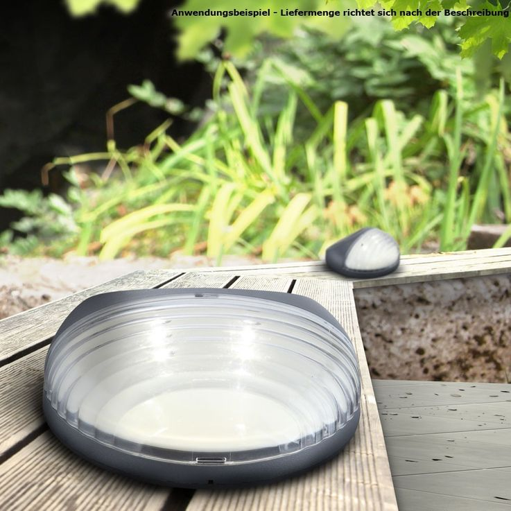 4er Set LED Zaun Solarleuchten aus Kunststoff in Grau – Bild 5
