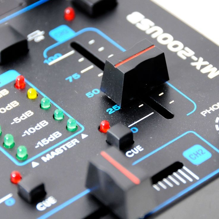 4-Channel DJ Mixer USB/MP3 Crossfading Talkover MX-200USB includes microphone – Bild 4