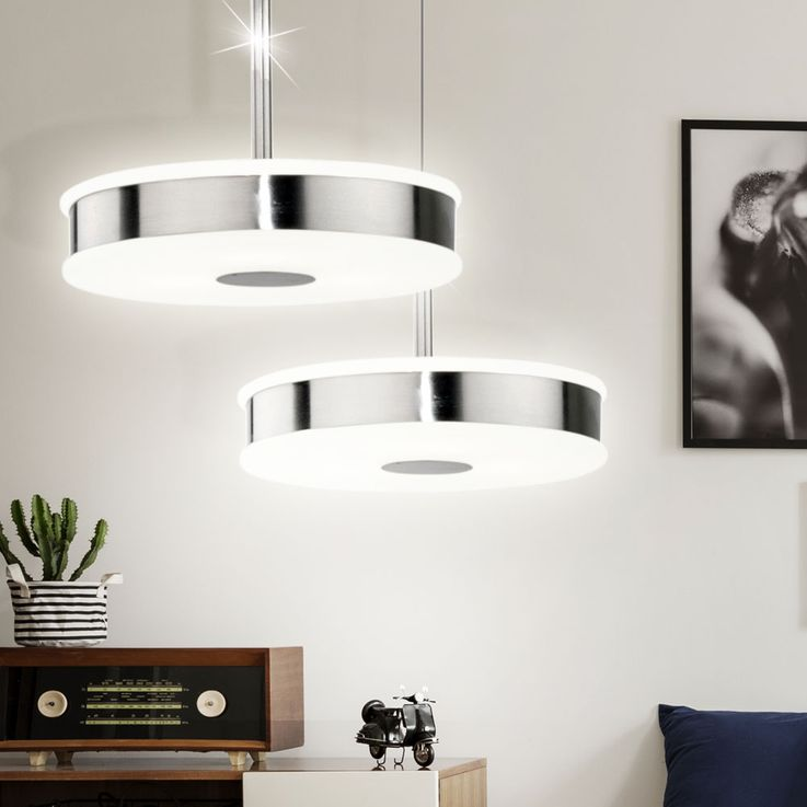 Suspended luminaire G4 Suspension lamp Illuminated steel glass white lacquered Eglo Lito 89515 – Bild 3