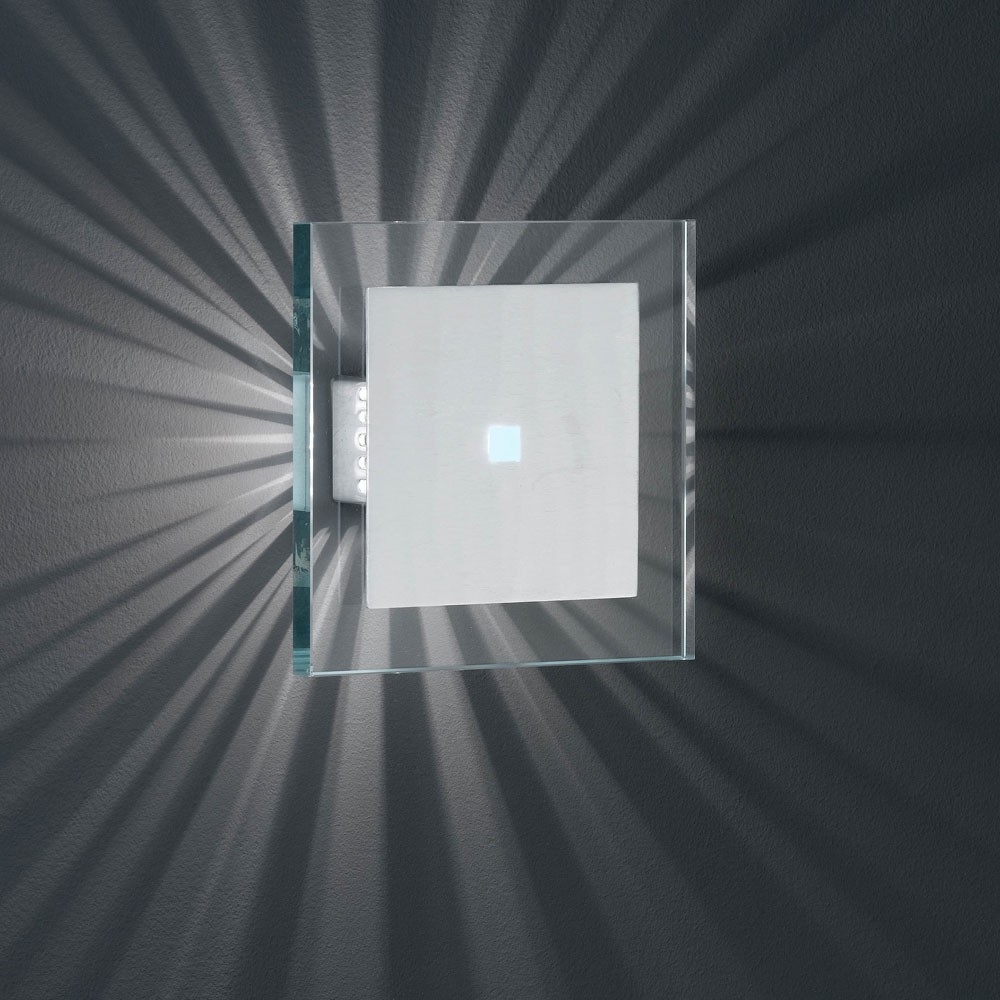 wandleuchte aus geb rstetem aluminium und klarem glas lampen m bel innenleuchten. Black Bedroom Furniture Sets. Home Design Ideas