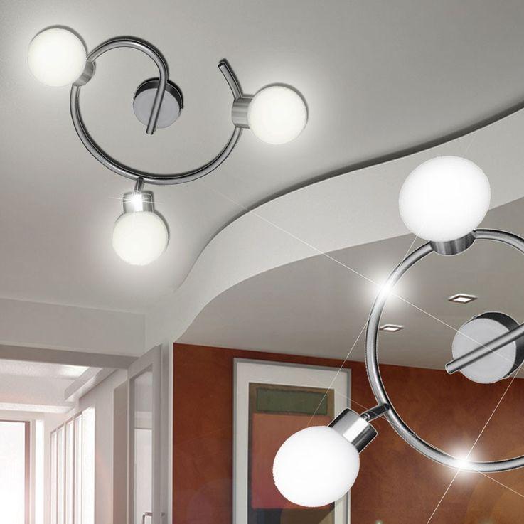 Plafonnier luminaire plafond sphère boule verre opale éclairage lampe salle de séjour – Bild 3