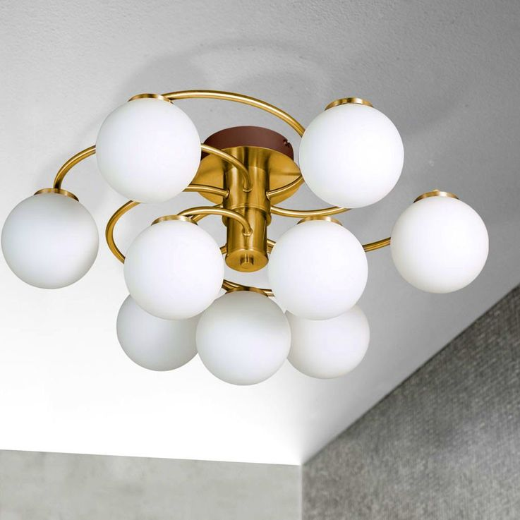 36 Watt LED Design Decken Leuchte Messing Glas Kugeln WOFI 9973.09.32.0000 – Bild 4