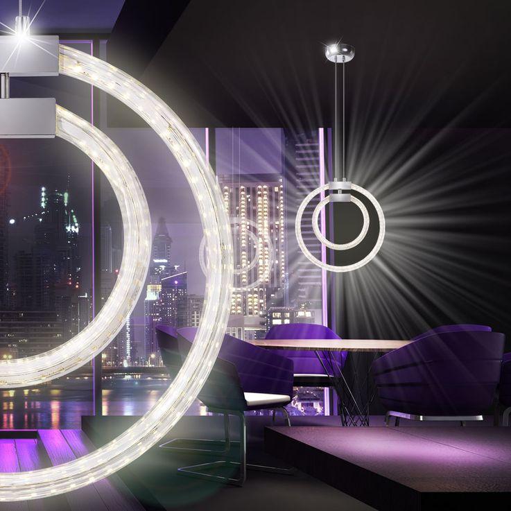 LED 30 Watt Hänge Leuchte Beleuchtung Pendel Lampe Glas klar Chrom Globo 68047-32H  – Bild 5