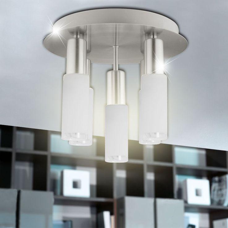 Plafonnier verre rond argenté Eclairage salle à manger 5x E14 ESL Eglo Samanta 90029 – Bild 6