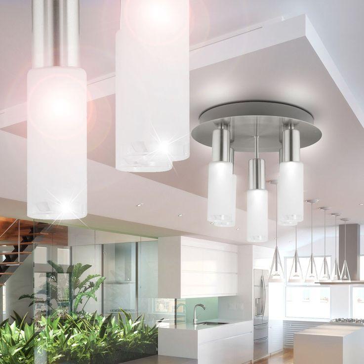 Plafonnier verre rond argenté Eclairage salle à manger 5x E14 ESL Eglo Samanta 90029 – Bild 5