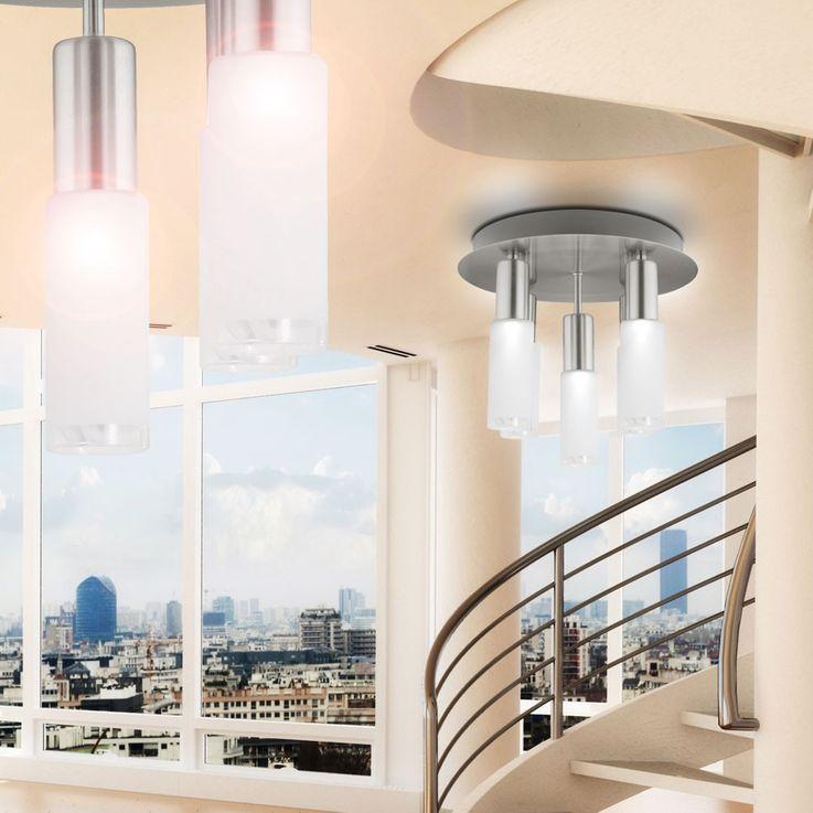 Plafonnier verre rond argenté Eclairage salle à manger 5x E14 ESL Eglo Samanta 90029 – Bild 7