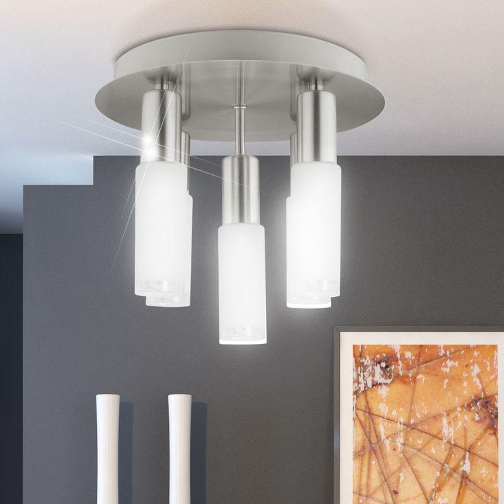 Ceiling light silver round glass Dining room lighting 5x E14 ESL Eglo Samanta 90029 – Bild 4